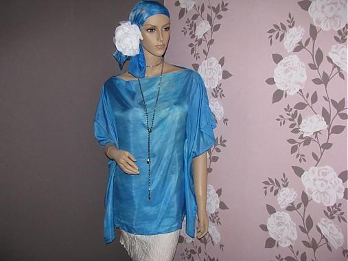 a76bc5a2c7 Hodvábna blúzka modrá - Sarah   InSeda - SAShE.sk - Handmade Topy