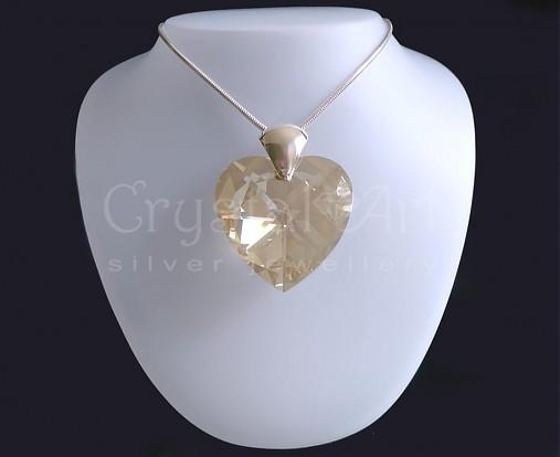 Srdce zlaté   CrystalArtJewellery - SAShE.sk - Handmade Náhrdelníky 8756987ac9f
