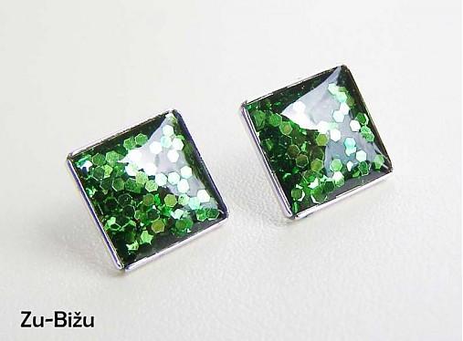 Zelené trblietky   zu - SAShE.sk - Handmade Náušnice 6eca7bae0fb