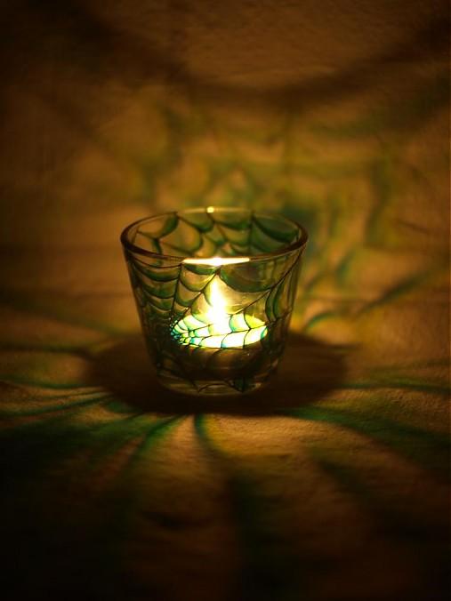 Svietnik na čajovú sviečku - Spider Web (Green)