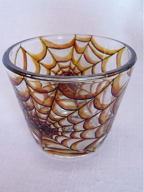 Svietnik na čajovú sviečku - Spider Web (Brown))