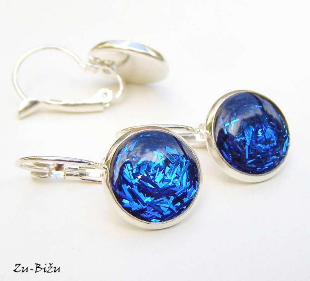 Modré trblietky   zu - SAShE.sk - Handmade Náušnice 46b288f3bf6