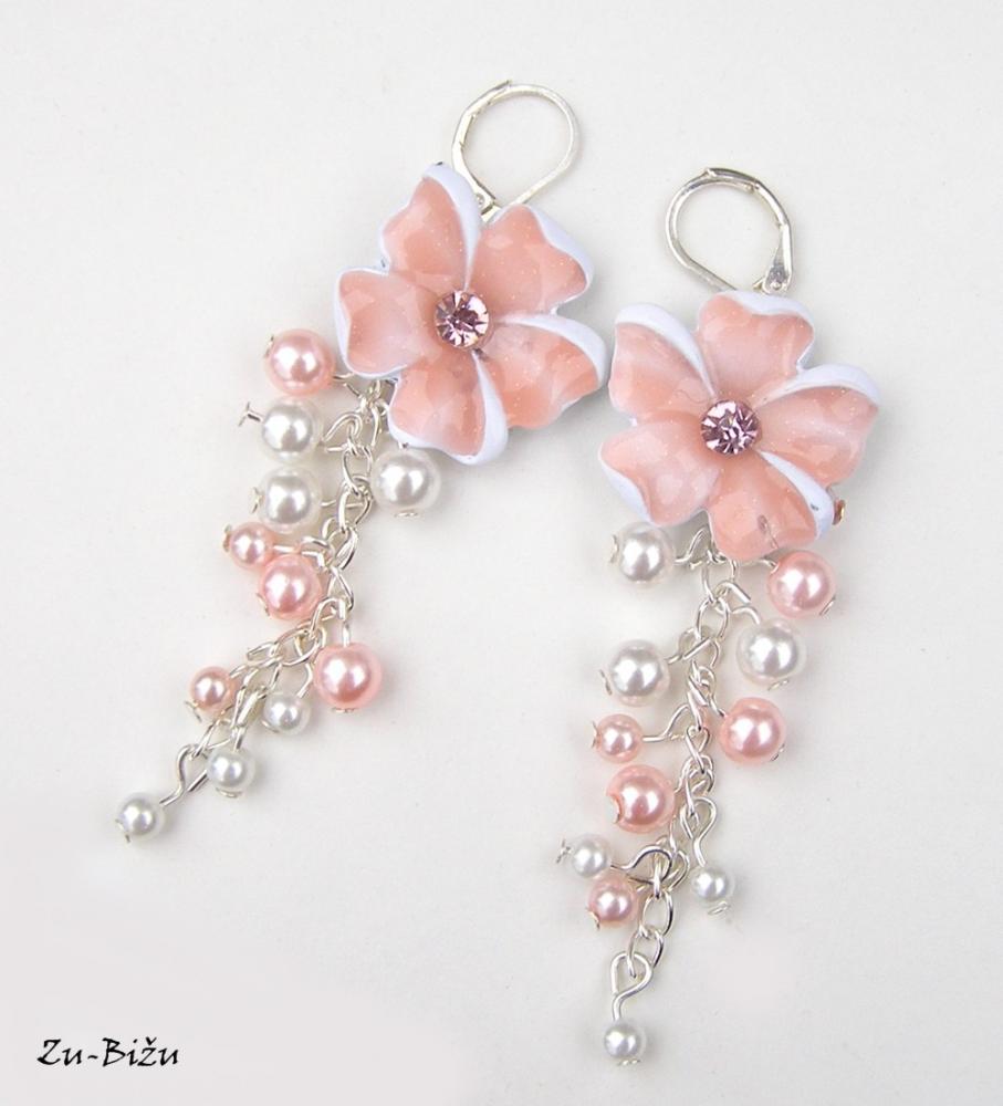 ZĽAVA Ružové kvetinky   zu - SAShE.sk - Handmade Náušnice 3557c7fa239