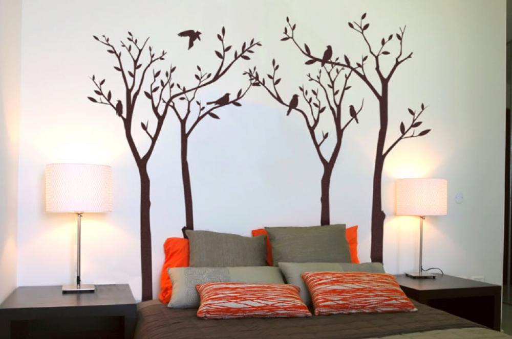 Vt iky na stromoch origin lna samolepka na stenu fugu handmade dekor cie - Dipinti murali per interni ...