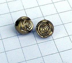 Korálky - pokovaná ruža s veľkou dierkou/ 1 ks - 1004781