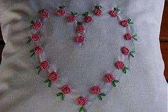 Úžitkový textil - Polštářek-růžové růžičky - 1021482