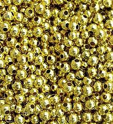 Korálky - zlaté kovové 3 mm/ 10 g - 1025881