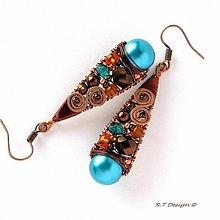 Náušnice - Náušnice Turquoise spiral... - 1034960