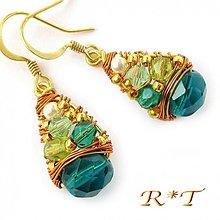 Náušnice - Náušnice Zlaté Smaragdy... - 1035760