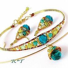 Náramky - Náramek Zlaté smaragdy... - 1035809