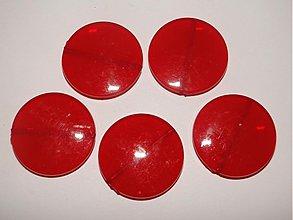 Korálky - MILK plast placka 30mm-1ks (červená) - 1044194
