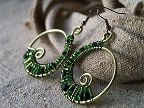 Náušnice - zelené špirálky - 1053735