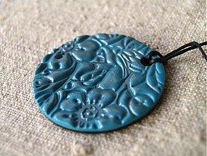 Náhrdelníky - tyrkysové kvetinkové koliesko - 1055330