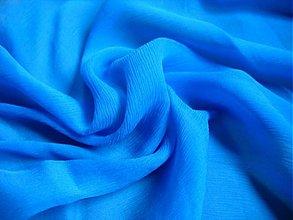 Textil - 100% hodvábny šifón, modrá farba - 1062221