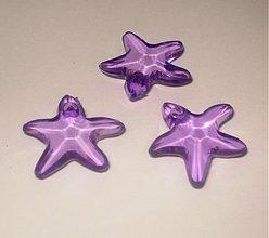 Korálky - Plastové hviezdičky 16 mm - fialová svetlá (1 ks) - 1065916
