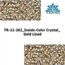 Korálky - T026 TOHO rokajl 11/0 Inside-Color Crystal_Gold Lined - 1068954