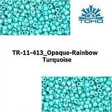 Korálky - T033 TOHO rokajl 11/0 Opaque-Rainbow Turquoise - 1068965