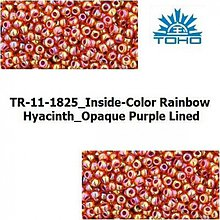 Korálky - T041 TOHO rokajl 11/0 Inside-Color Rainbow Hyacinth_Opaque Purple Lined - 1068977