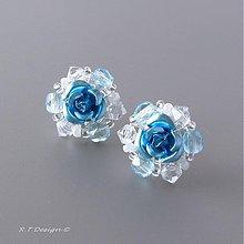 Náušnice - Náušničky Blue Rose... - 1073942
