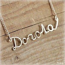 Náhrdelníky - Náhrdelník s menom z postriebreného drôtu: 6-8 písmen (Dorota) - 1123827
