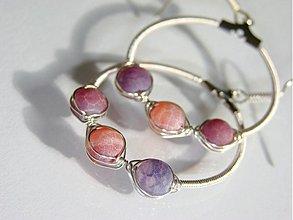 Náušnice - Violet agates - 1138744