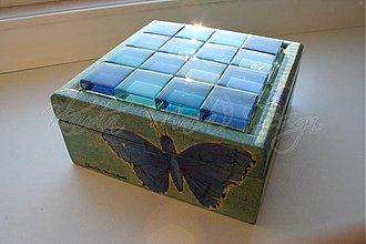Krabičky - krabička motýle/mozaika sklo - 1147974
