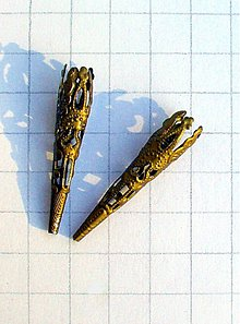 Komponenty - kaplíky filigránové starozlaté/ 2 ks - 1152261