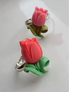 Prstene - Tulipániky (červený a ružový) - 1152306