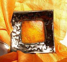 Svietidlá a sviečky - svietniček zlato oranžový - 1166868