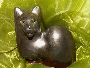 """Dekorácie - Mačka """"smaragdová"""" - 1177251"""