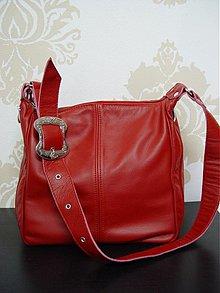 Kabelky - Červená kožená kabelka Martina - 1207075