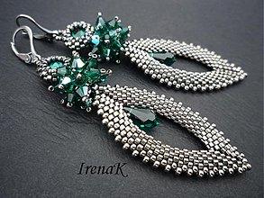 Náušnice - Slzy Emerald - 1210046