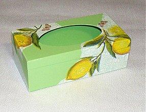 Krabičky - krabička na vreckovky-citrón,zľava - 1228888