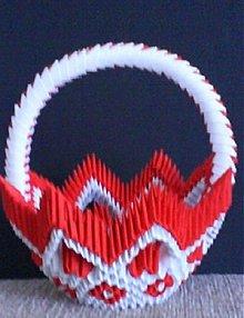 Dekorácie - Origami košík červený - 1238756