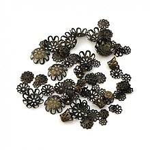 Komponenty - 0640 Mix starozlatých kaplíkov, ±6-16 mm, ±70 ks - 1238931