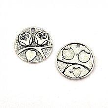 Komponenty - 1111-0656 Kovový okrúhly prívesok so sovami 25 mm - farba nikel, 1 ks - 1253241