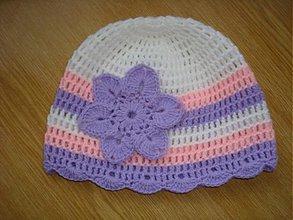 Detské čiapky - Dievčenská čiapočka s kvietkom - 1255073