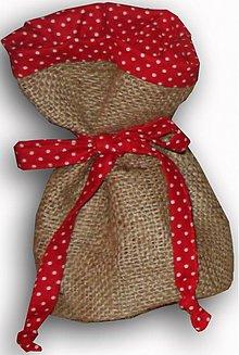 Úžitkový textil - Vrecúško z vrecoviny - červená - 1262235