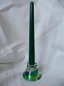 Svietidlá a sviečky - Obojstranný svietnik - Green spiral - 1294050