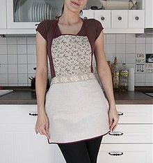 Úžitkový textil - Tradičná ľanová kuchynská zástera - hnedé kvietky (001) - 1310118