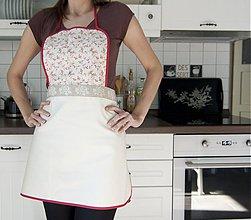 Úžitkový textil - Kuchynská zástera - červené kvietky (003) - 1310161