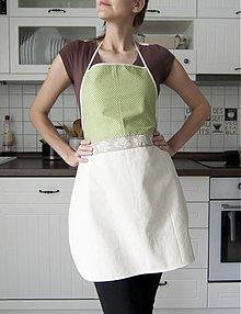 Úžitkový textil - Kuchynská zástera - zelené bodky (004) - 1310214