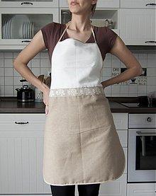 Úžitkový textil - Kuchynská zástera bielo-hnedá (005) - 1310231