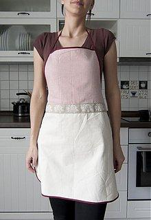Iné oblečenie - Kuchynská zástera - jemný pásik vínovej farby (006) - 1310245