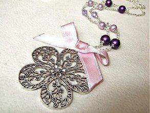 Náhrdelníky - flower in pink - 1330792