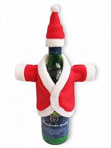 Dekorácie - Vianoce - kabátik s čiapkou na fľašu - 1351307