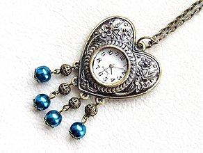 Náhrdelníky - vintage srdcové hodinky - 1352216