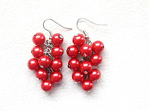 Náušnice - červené bobule - 1364606