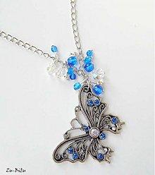 Náhrdelníky - Modrý motýľ - 1368383