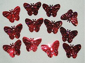 Galantéria - Flitre motýlik 18x22mm-20ks (hol.červená) - 1369383